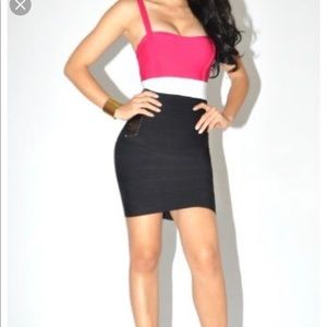 Bebe Dress Pink, White, and Black bodycon Dress!